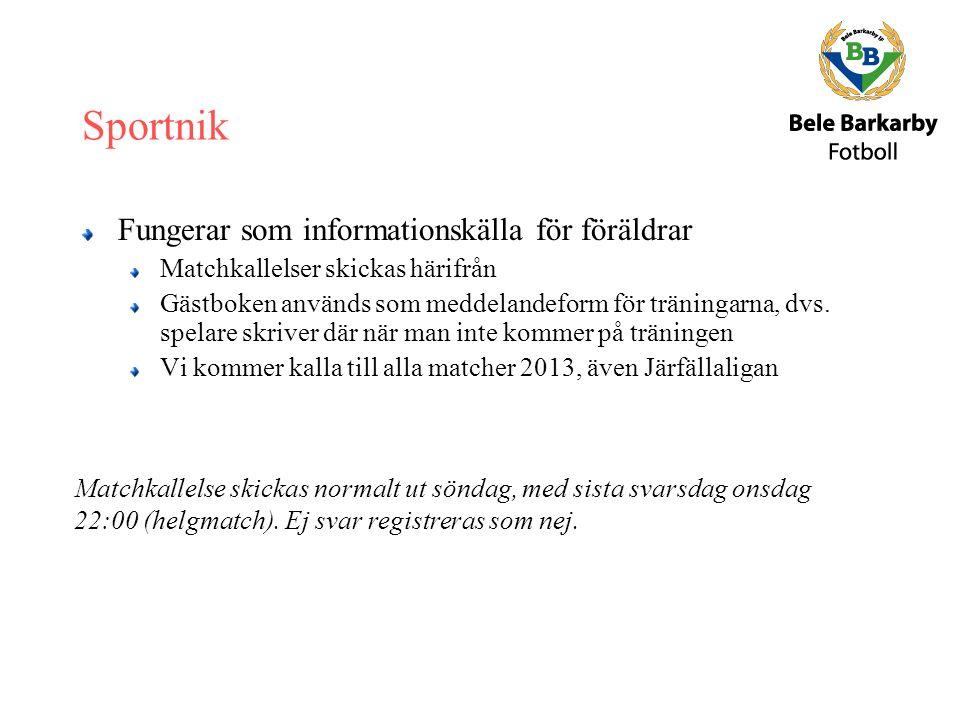 Sportnik Fungerar som informationskälla för föräldrar Matchkallelser skickas härifrån Gästboken används som meddelandeform för träningarna, dvs.