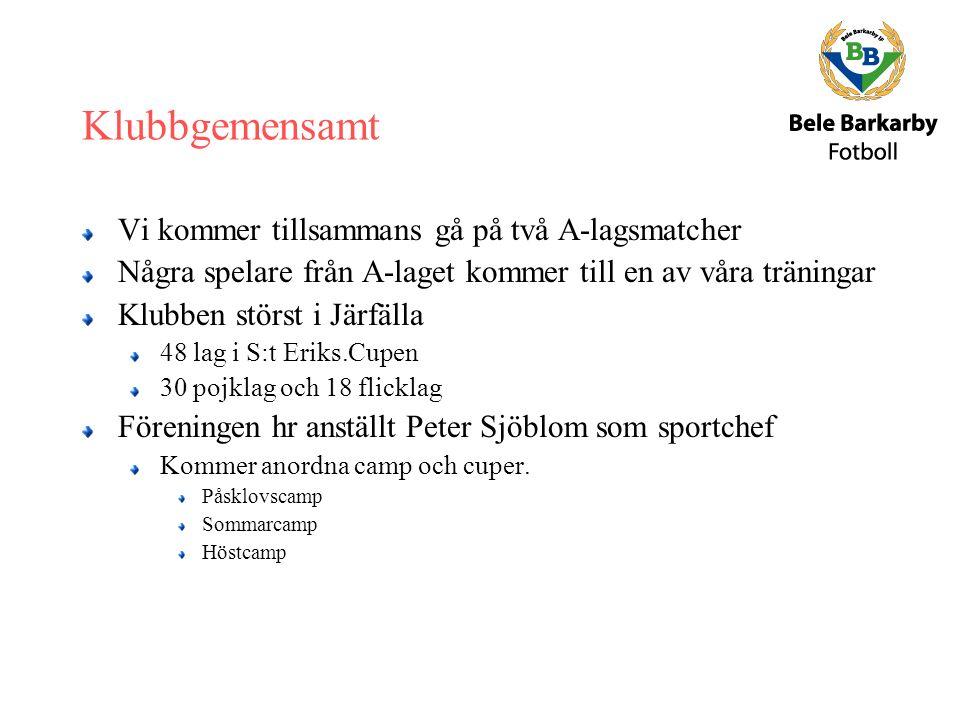Klubbgemensamt Vi kommer tillsammans gå på två A-lagsmatcher Några spelare från A-laget kommer till en av våra träningar Klubben störst i Järfälla 48 lag i S:t Eriks.Cupen 30 pojklag och 18 flicklag Föreningen hr anställt Peter Sjöblom som sportchef Kommer anordna camp och cuper.