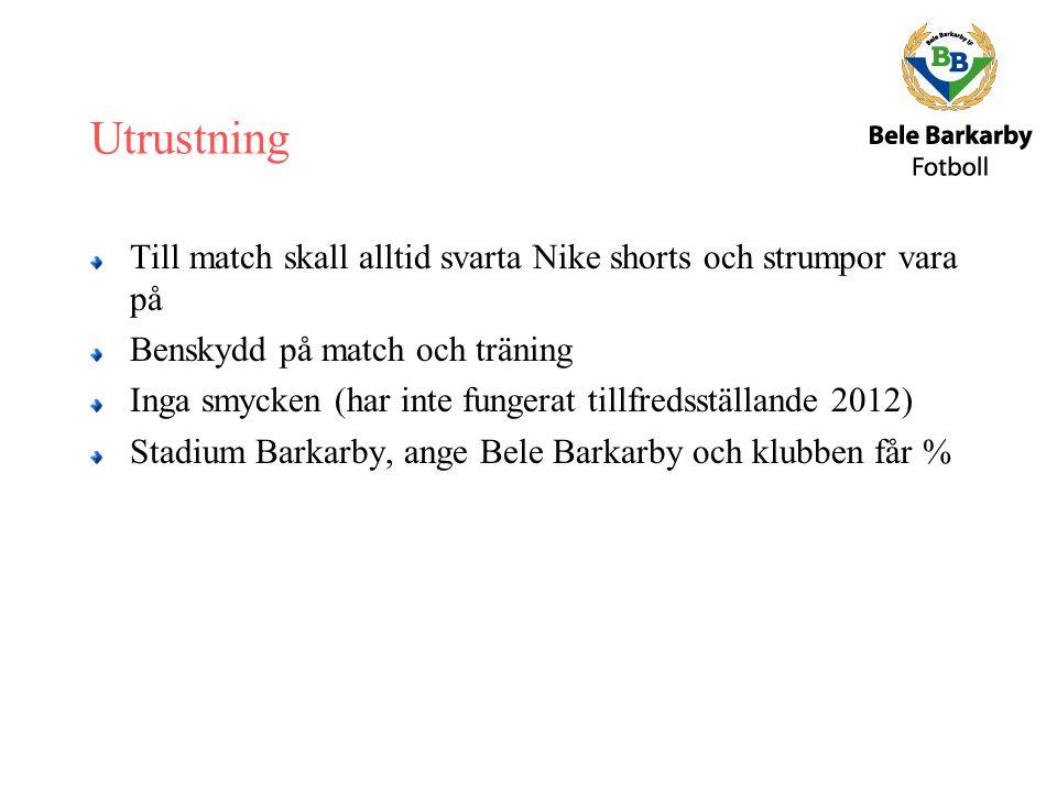 Utrustning Till match skall alltid svarta Nike shorts och strumpor vara på Benskydd på match och träning Inga smycken (har inte fungerat tillfredsställande 2012) Stadium Barkarby, ange Bele Barkarby och klubben får %
