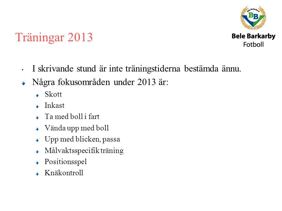 Träningar 2013 I skrivande stund är inte träningstiderna bestämda ännu.