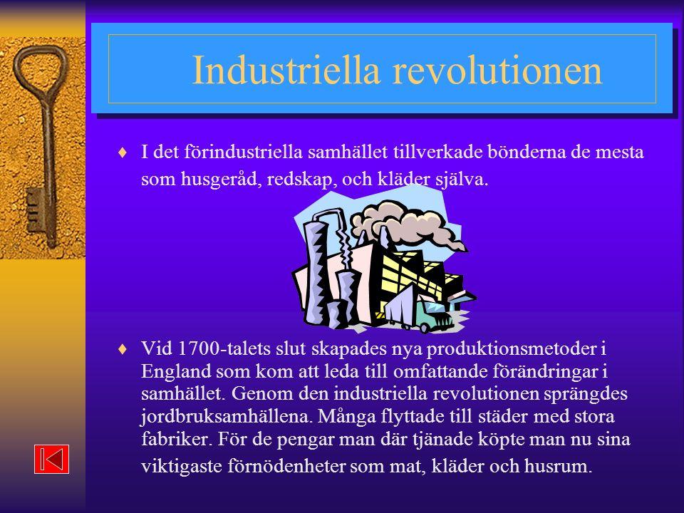 Industriella revolutionen  I det förindustriella samhället tillverkade bönderna de mesta som husgeråd, redskap, och kläder själva.