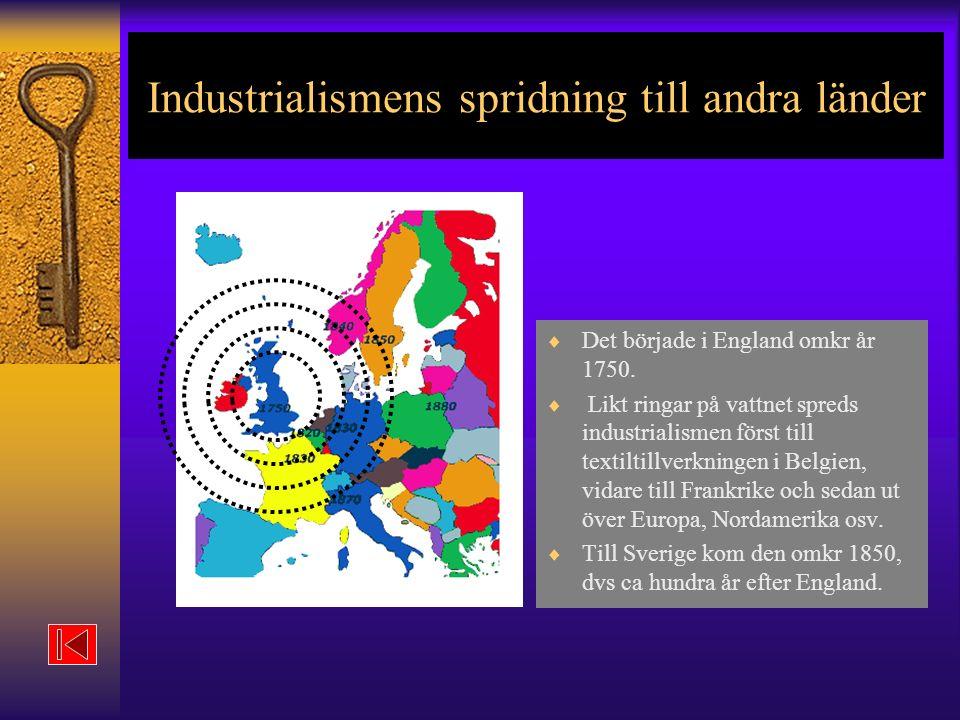 Industrialismens spridning till andra länder  Det började i England omkr år 1750.