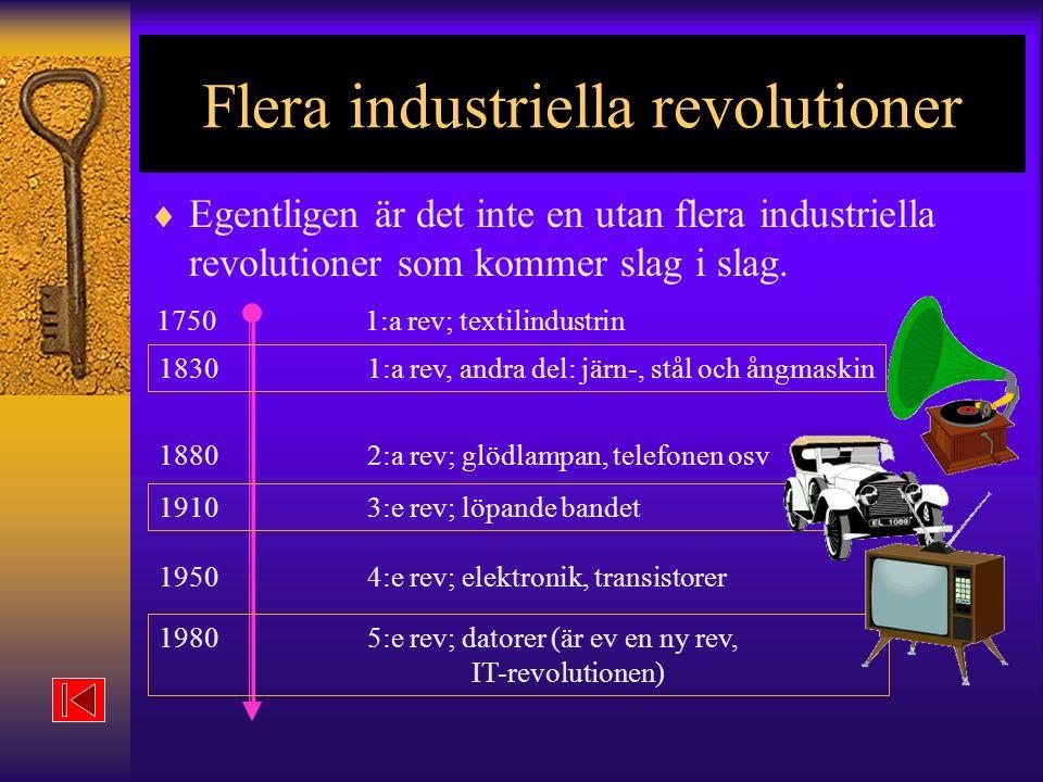Flera industriella revolutioner  Egentligen är det inte en utan flera industriella revolutioner som kommer slag i slag.