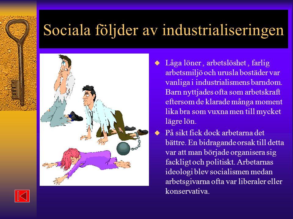 Sociala följder av industrialiseringen  Låga löner, arbetslöshet, farlig arbetsmiljö och urusla bostäder var vanliga i industrialismens barndom.
