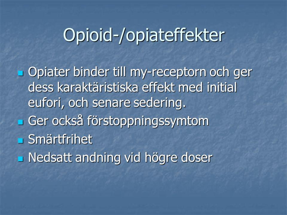 Opioid-/opiateffekter Opiater binder till my-receptorn och ger dess karaktäristiska effekt med initial eufori, och senare sedering.