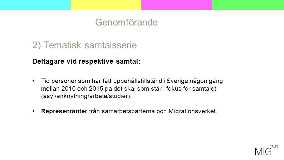 Genomförande 2) Tematisk samtalsserie Deltagare vid respektive samtal: Tio personer som har fått uppehållstillstånd i Sverige någon gång mellan 2010 och 2015 på det skäl som står i fokus för samtalet (asyl/anknytning/arbete/studier).