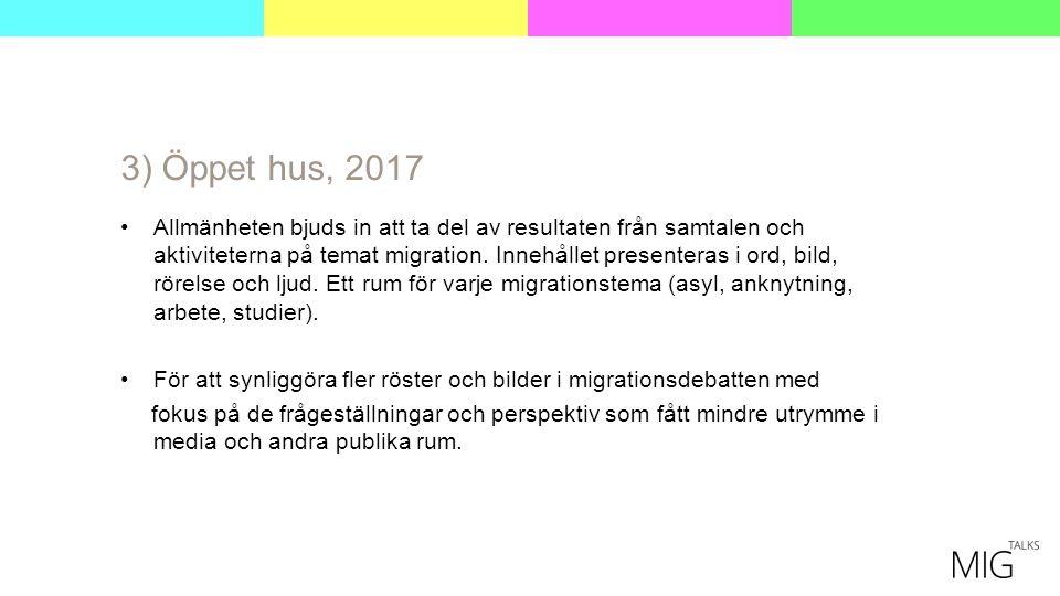 3) Öppet hus, 2017 Allmänheten bjuds in att ta del av resultaten från samtalen och aktiviteterna på temat migration.