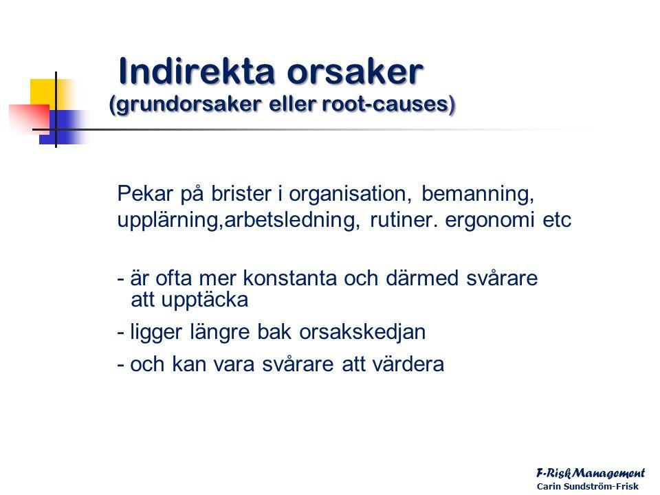 Indirekta orsaker (grundorsaker eller root-causes) Indirekta orsaker (grundorsaker eller root-causes) Pekar på brister i organisation, bemanning, upplärning,arbetsledning, rutiner.