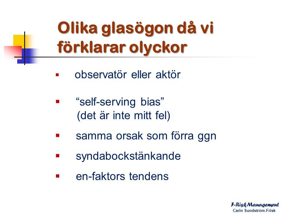  observatör eller aktör  self-serving bias (det är inte mitt fel)  samma orsak som förra ggn  syndabockstänkande  en-faktors tendens F-RiskManagement Carin Sundström-Frisk Olika glasögon då vi förklarar olyckor