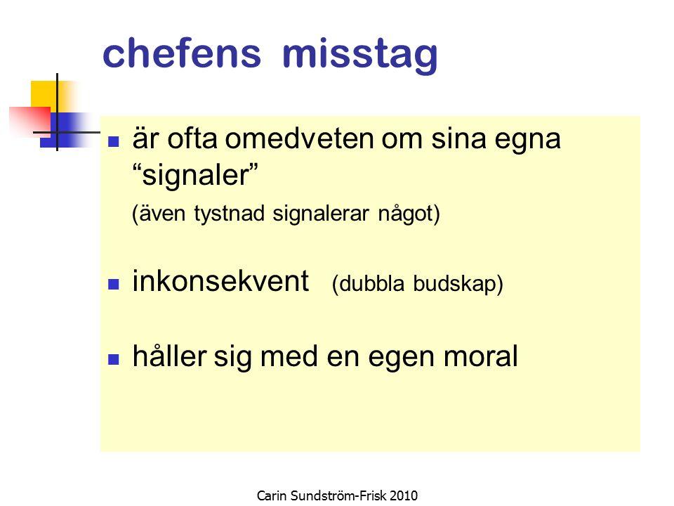 chefens misstag är ofta omedveten om sina egna signaler (även tystnad signalerar något) inkonsekvent (dubbla budskap) håller sig med en egen moral Carin Sundström-Frisk 2010