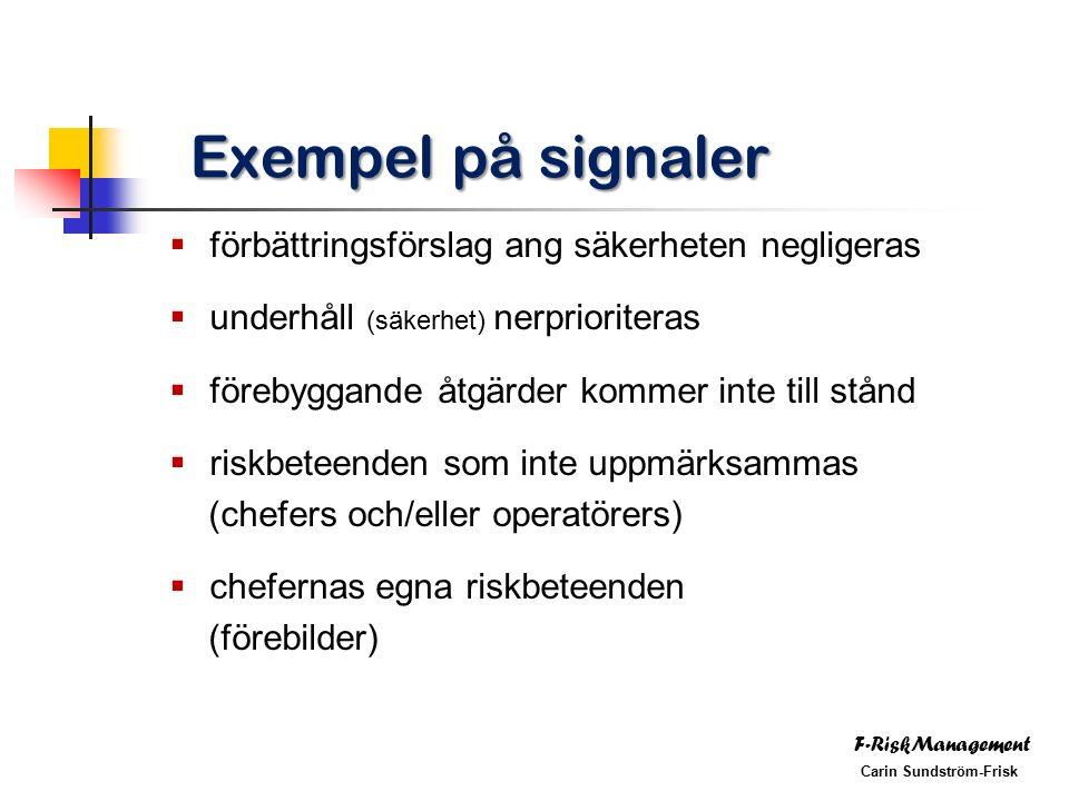F-RiskManagement Carin Sundström-Frisk Exempel på signaler  förbättringsförslag ang säkerheten negligeras  underhåll (säkerhet) nerprioriteras  förebyggande åtgärder kommer inte till stånd  riskbeteenden som inte uppmärksammas (chefers och/eller operatörers)  chefernas egna riskbeteenden (förebilder)