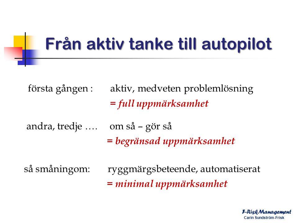 Från aktiv tanke till autopilot F-RiskManagement Carin Sundström-Frisk första gången : aktiv, medveten problemlösning = full uppmärksamhet andra, tredje ….