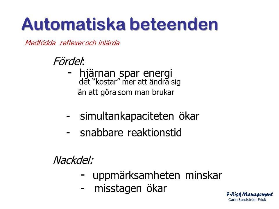 Automatiska beteenden Automatiska beteenden F-RiskManagement Carin Sundström-Frisk Medfödda reflexer och inlärda Fördel: - hjärnan spar energi det kostar mer att ändra sig än att göra som man brukar - simultankapaciteten ökar - snabbare reaktionstid Nackdel: - uppmärksamheten minskar - misstagen ökar