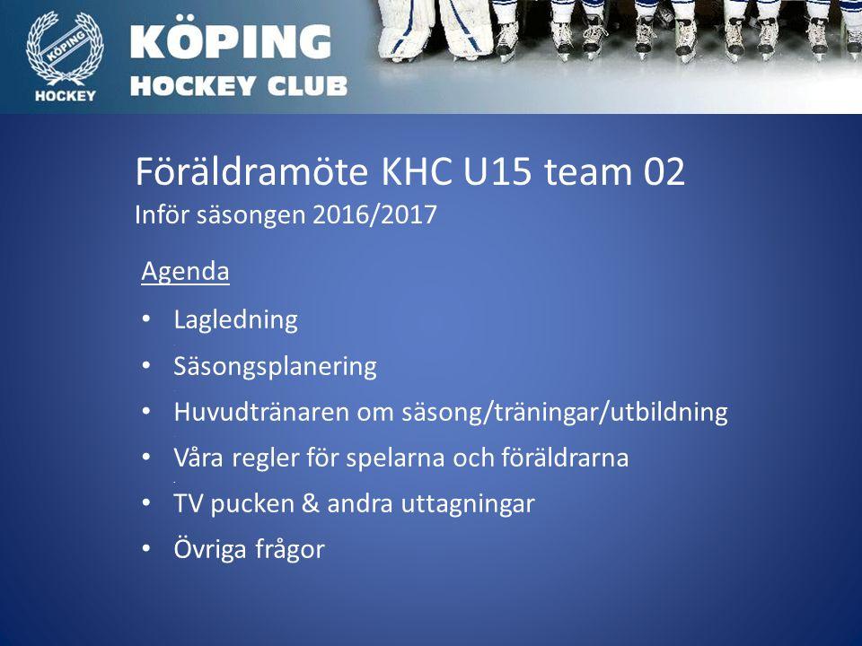 Föräldramöte KHC U15 team 02 Inför säsongen 2016/2017 Agenda Lagledning.