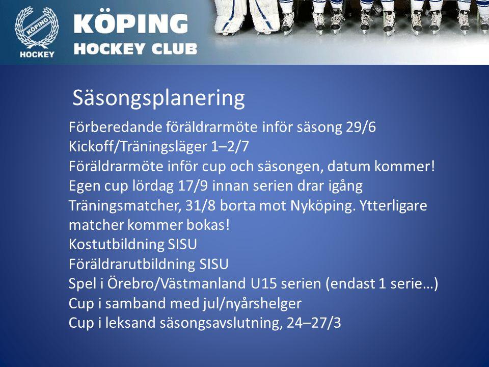 Säsongsplanering Förberedande föräldrarmöte inför säsong 29/6 Kickoff/Träningsläger 1–2/7 Föräldrarmöte inför cup och säsongen, datum kommer.