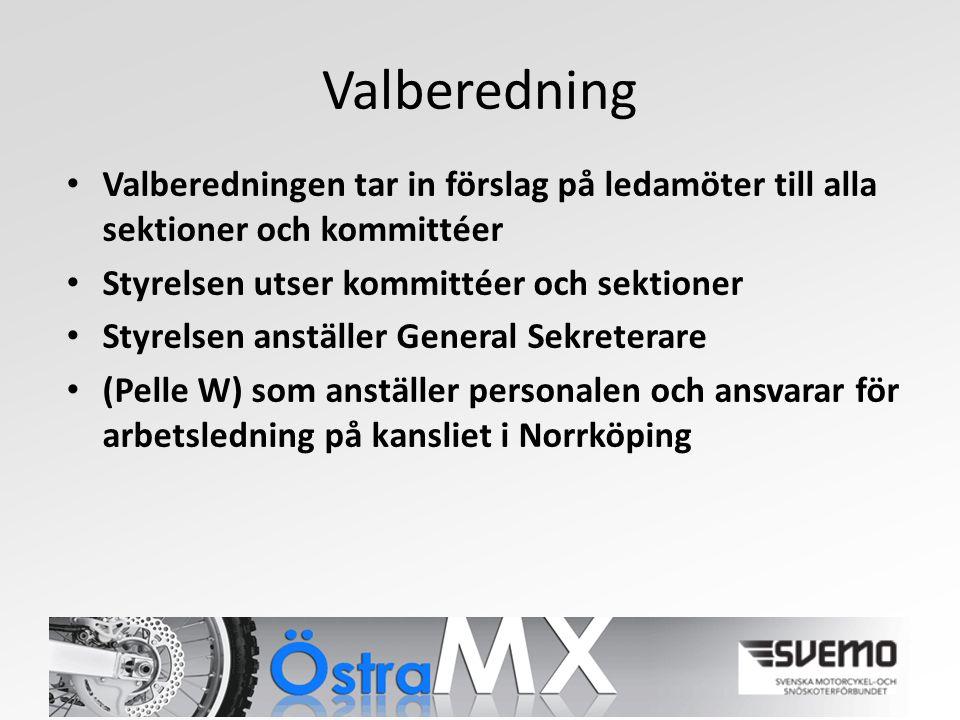 Valberedning Valberedningen tar in förslag på ledamöter till alla sektioner och kommittéer Styrelsen utser kommittéer och sektioner Styrelsen anställer General Sekreterare (Pelle W) som anställer personalen och ansvarar för arbetsledning på kansliet i Norrköping