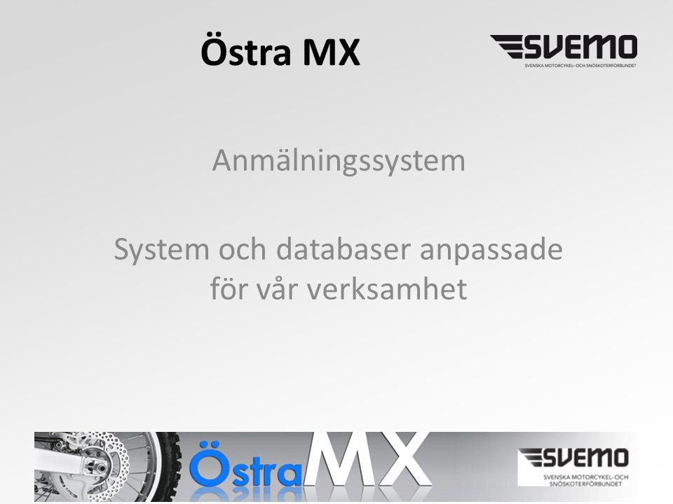 Östra MX Anmälningssystem System och databaser anpassade för vår verksamhet