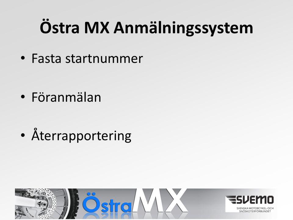 Östra MX Anmälningssystem Fasta startnummer Föranmälan Återrapportering