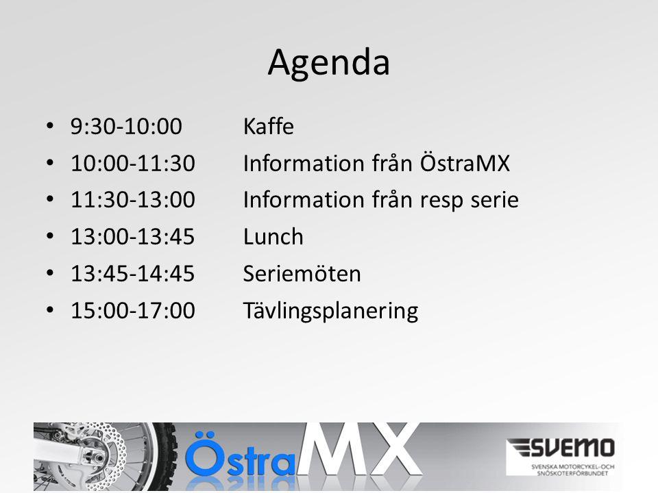 Agenda 9:30-10:00 Kaffe 10:00-11:30Information från ÖstraMX 11:30-13:00 Information från resp serie 13:00-13:45Lunch 13:45-14:45Seriemöten 15:00-17:00Tävlingsplanering