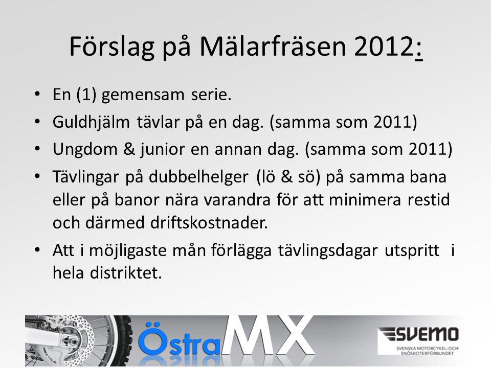 Förslag på Mälarfräsen 2012: En (1) gemensam serie.