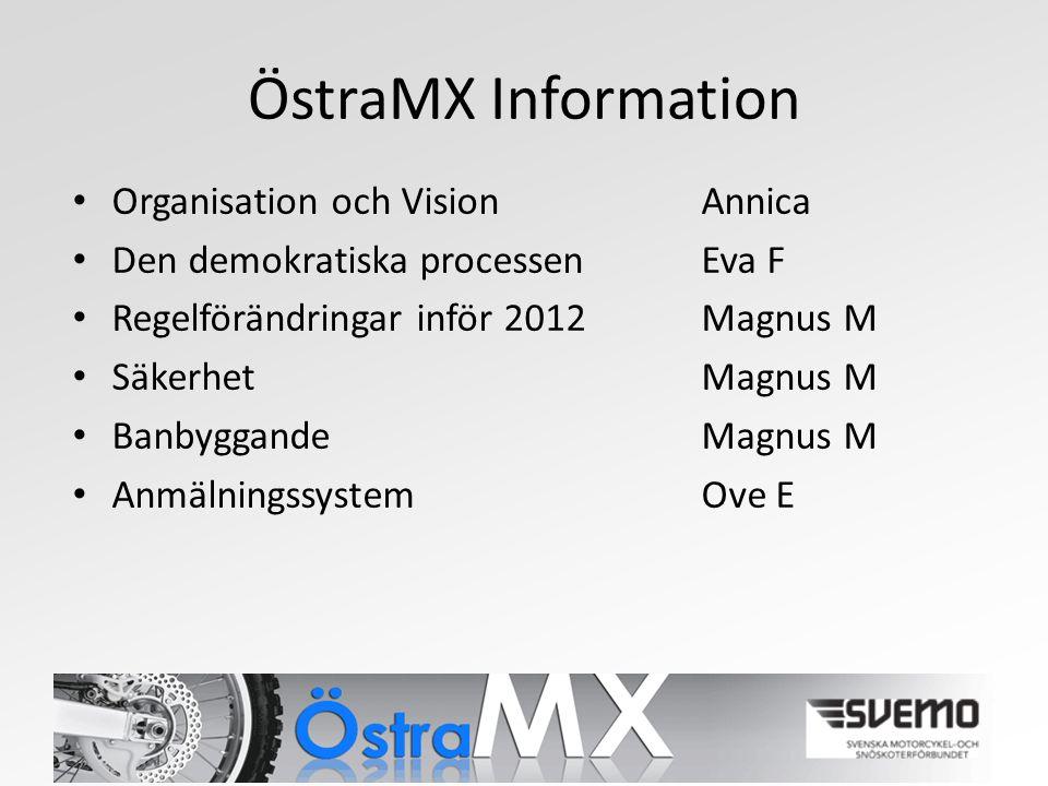 ÖstraMX Information Organisation och VisionAnnica Den demokratiska processenEva F Regelförändringar inför 2012 Magnus M SäkerhetMagnus M BanbyggandeMagnus M AnmälningssystemOve E