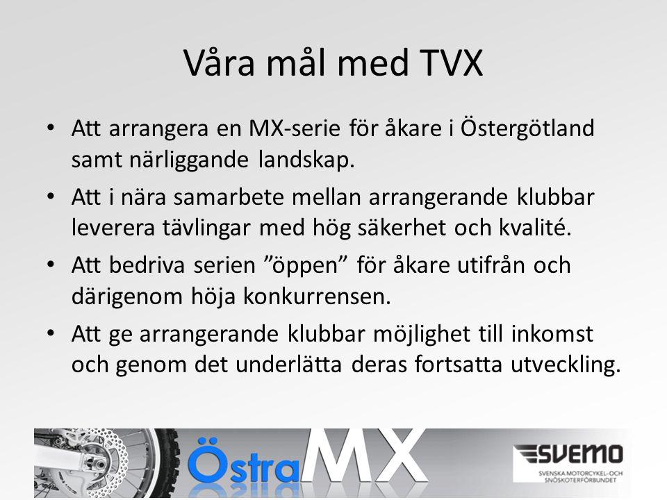 Våra mål med TVX Att arrangera en MX-serie för åkare i Östergötland samt närliggande landskap.