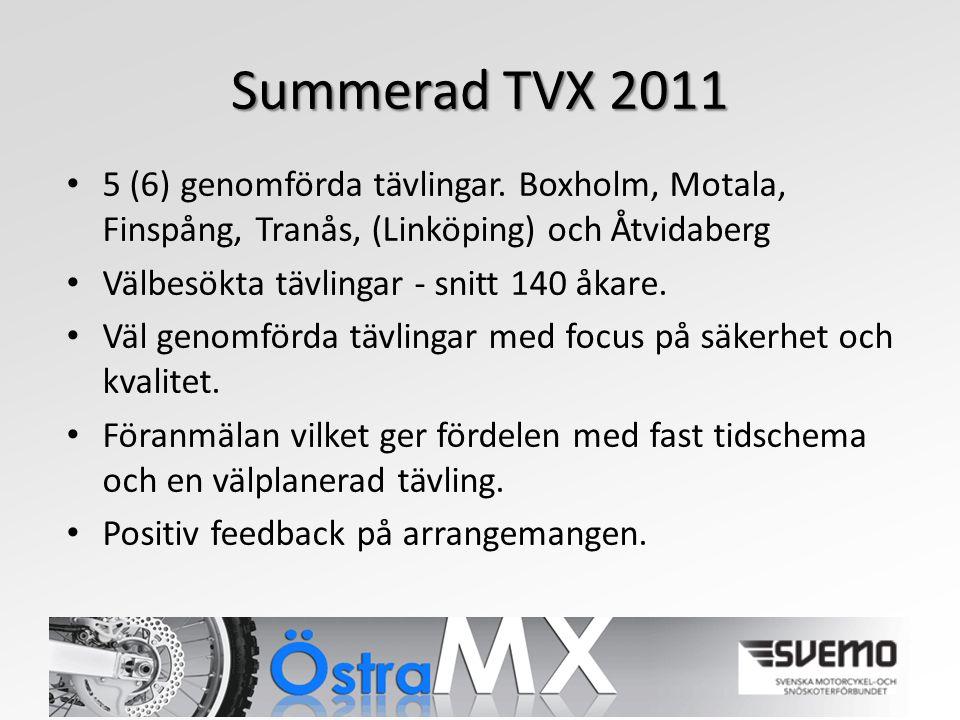 Summerad TVX 2011 5 (6) genomförda tävlingar.