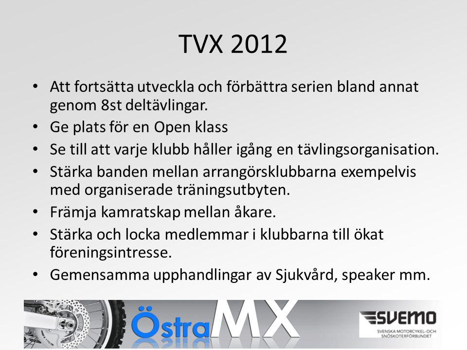 TVX 2012 Att fortsätta utveckla och förbättra serien bland annat genom 8st deltävlingar.