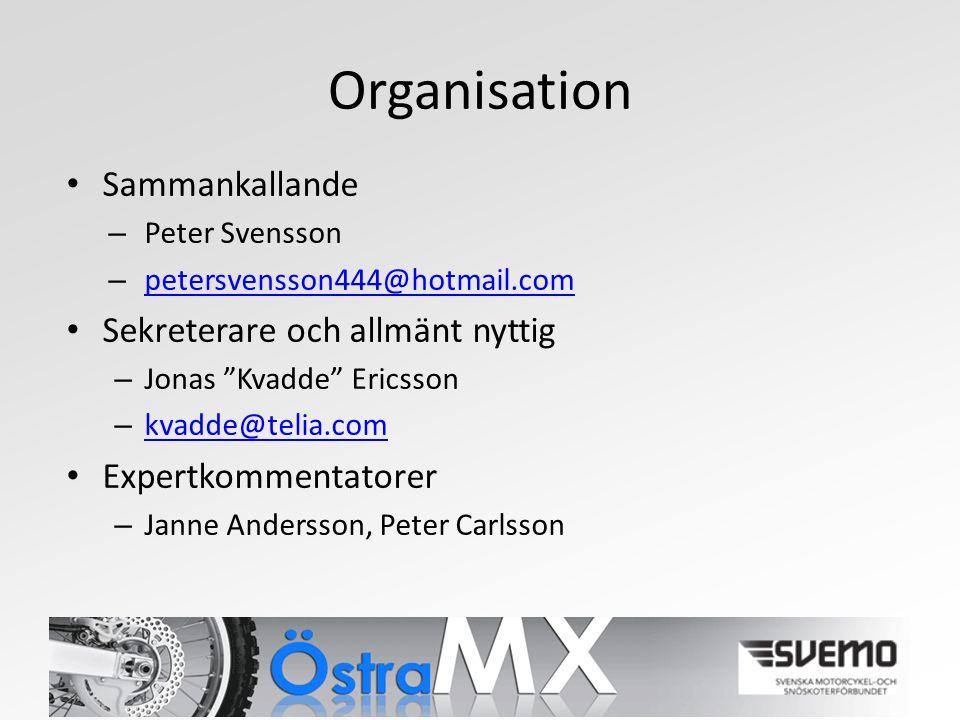 Organisation Sammankallande – Peter Svensson – petersvensson444@hotmail.com petersvensson444@hotmail.com Sekreterare och allmänt nyttig – Jonas Kvadde Ericsson – kvadde@telia.com kvadde@telia.com Expertkommentatorer – Janne Andersson, Peter Carlsson