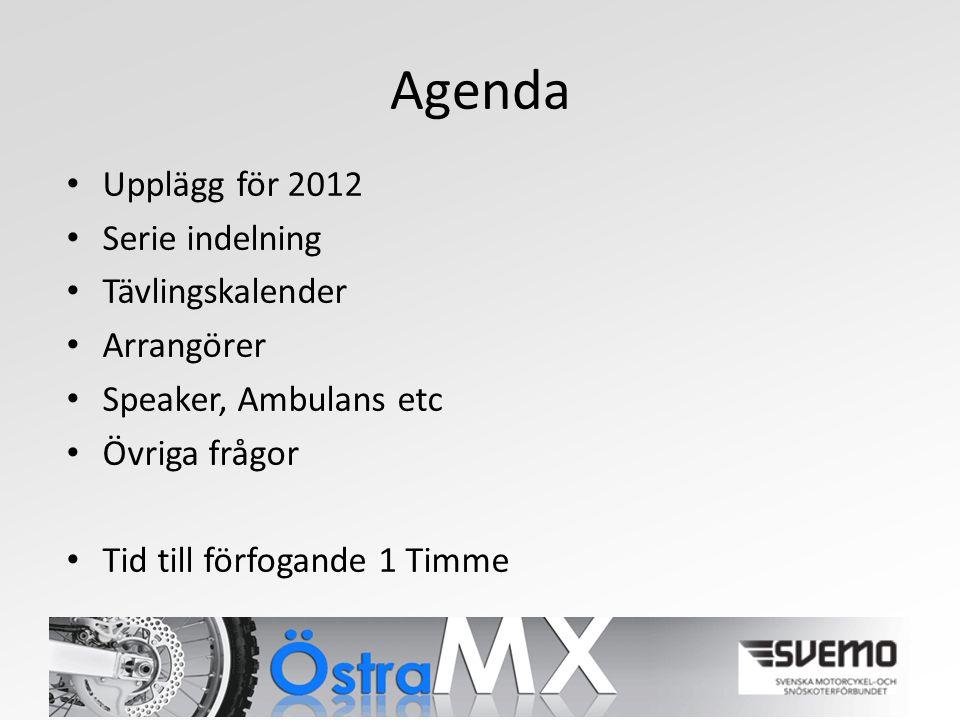Agenda Upplägg för 2012 Serie indelning Tävlingskalender Arrangörer Speaker, Ambulans etc Övriga frågor Tid till förfogande 1 Timme