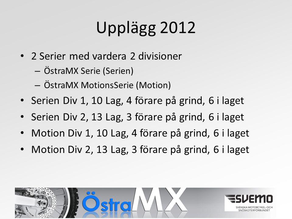 Upplägg 2012 2 Serier med vardera 2 divisioner – ÖstraMX Serie (Serien) – ÖstraMX MotionsSerie (Motion) Serien Div 1, 10 Lag, 4 förare på grind, 6 i laget Serien Div 2, 13 Lag, 3 förare på grind, 6 i laget Motion Div 1, 10 Lag, 4 förare på grind, 6 i laget Motion Div 2, 13 Lag, 3 förare på grind, 6 i laget