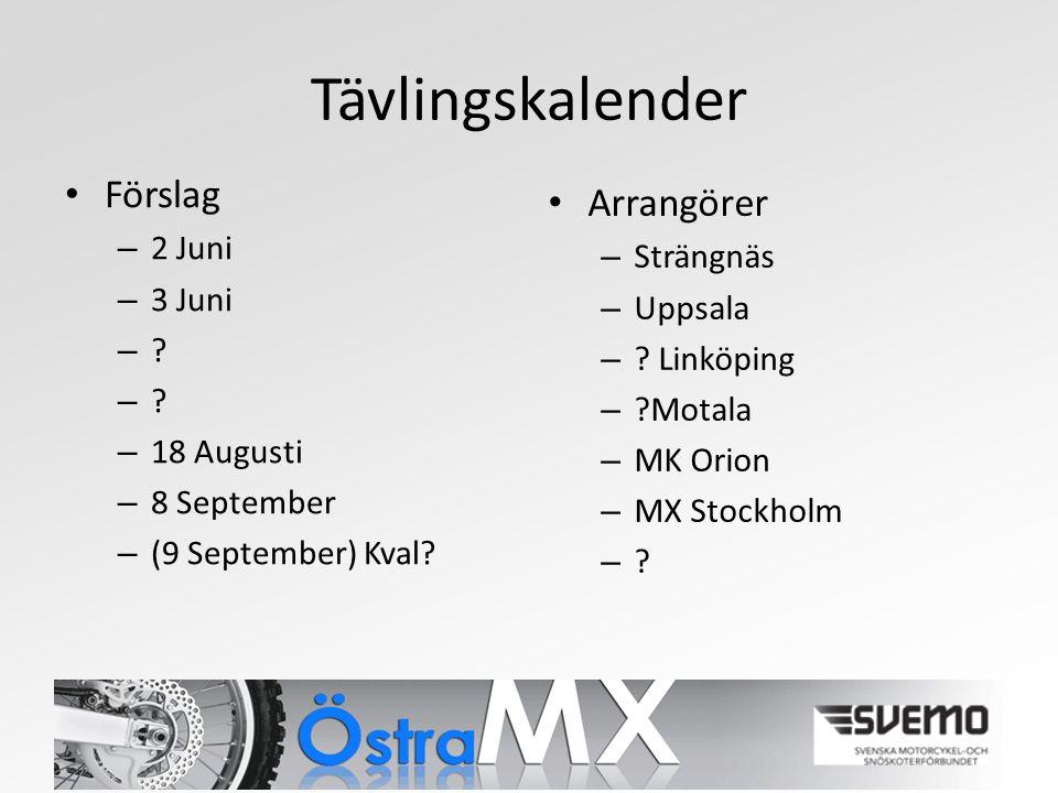 Tävlingskalender Förslag – 2 Juni – 3 Juni – . – 18 Augusti – 8 September – (9 September) Kval.