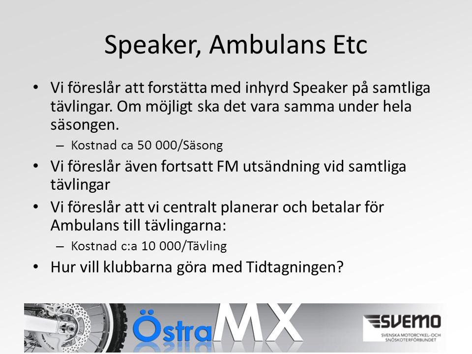 Speaker, Ambulans Etc Vi föreslår att forstätta med inhyrd Speaker på samtliga tävlingar.