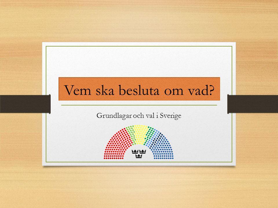 3 styrelsenivåer Nationell Riksdag; 349 riksdagsledamöter, 8 partier Regering, regeringskansliet, statliga verk och myndigheter Regional 20 landsting, 2 regioner Länsstyrelsen Lokal 290 kommuner Sverige är en monarki.