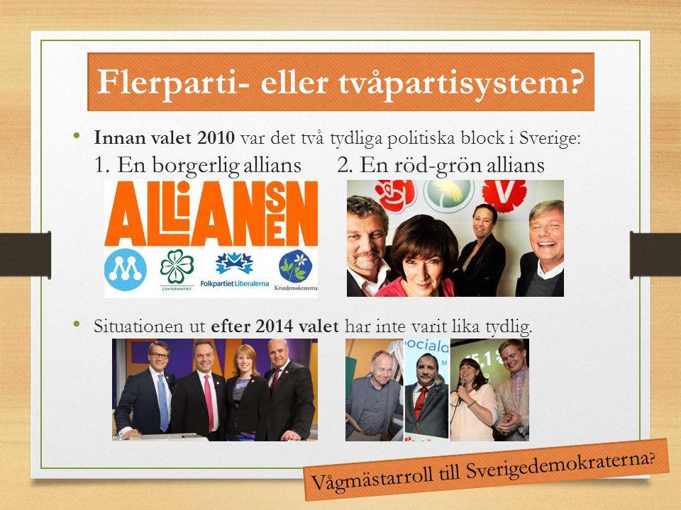 Flerparti- eller tvåpartisystem? Innan valet 2010 var det två tydliga politiska block i Sverige: 1. En borgerlig allians 2. En röd-grön allians Situat