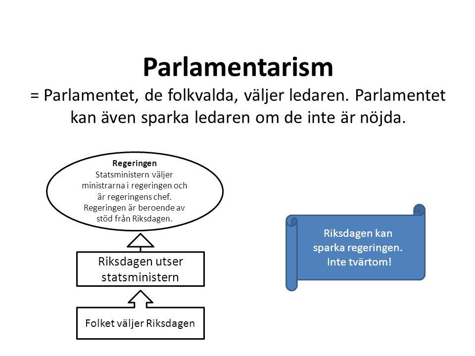 Parlamentarism = Parlamentet, de folkvalda, väljer ledaren. Parlamentet kan även sparka ledaren om de inte är nöjda. Riksdagen utser statsministern Fo
