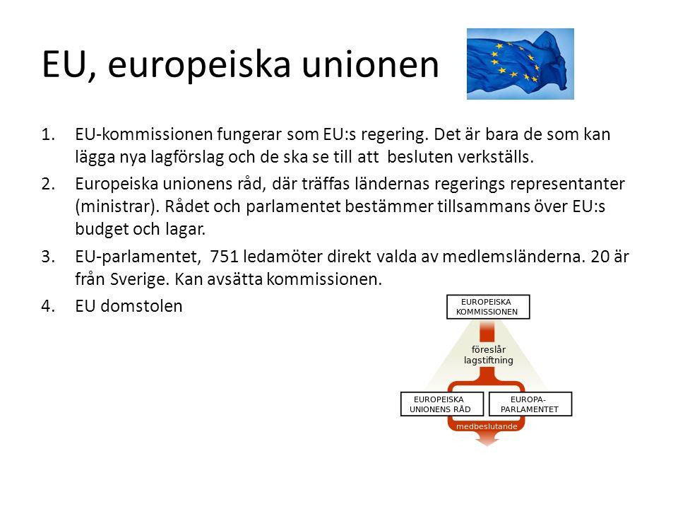 EU, europeiska unionen 1.EU-kommissionen fungerar som EU:s regering. Det är bara de som kan lägga nya lagförslag och de ska se till att besluten verks