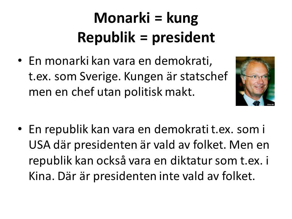 Monarki = kung Republik = president En monarki kan vara en demokrati, t.ex. som Sverige. Kungen är statschef men en chef utan politisk makt. En republ