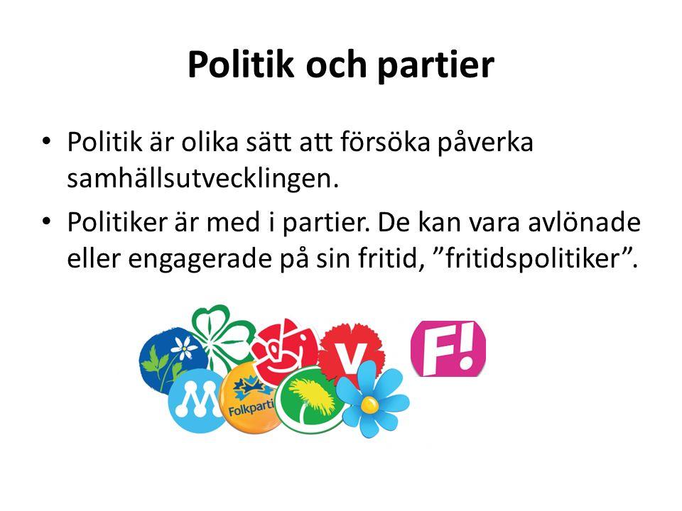 Politik och partier Politik är olika sätt att försöka påverka samhällsutvecklingen. Politiker är med i partier. De kan vara avlönade eller engagerade