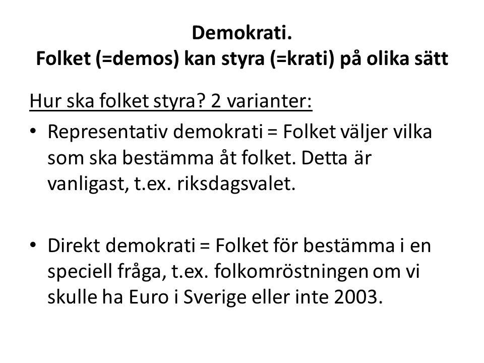 Demokrati. Folket (=demos) kan styra (=krati) på olika sätt Hur ska folket styra.