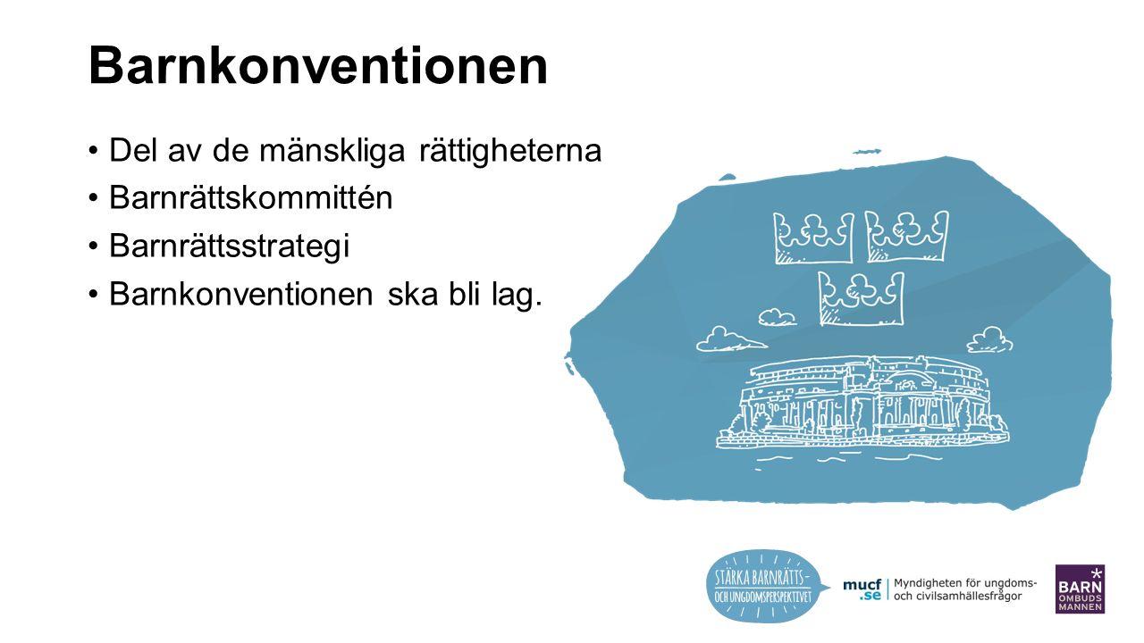 Barnkonventionen Del av de mänskliga rättigheterna Barnrättskommittén Barnrättsstrategi Barnkonventionen ska bli lag.