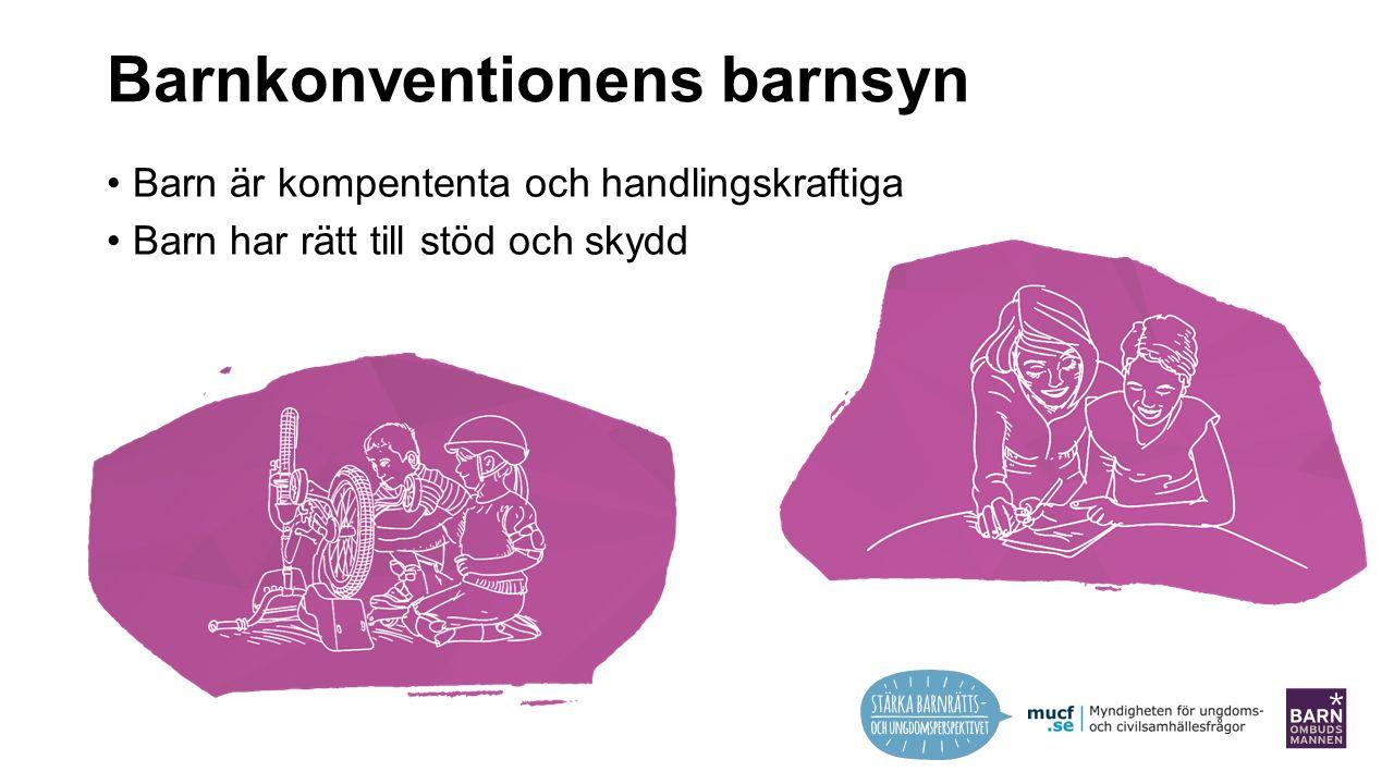 Barnkonventionens barnsyn Barn är kompententa och handlingskraftiga Barn har rätt till stöd och skydd