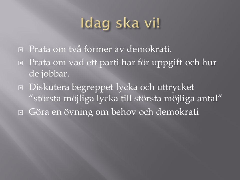  Prata om två former av demokrati.  Prata om vad ett parti har för uppgift och hur de jobbar.