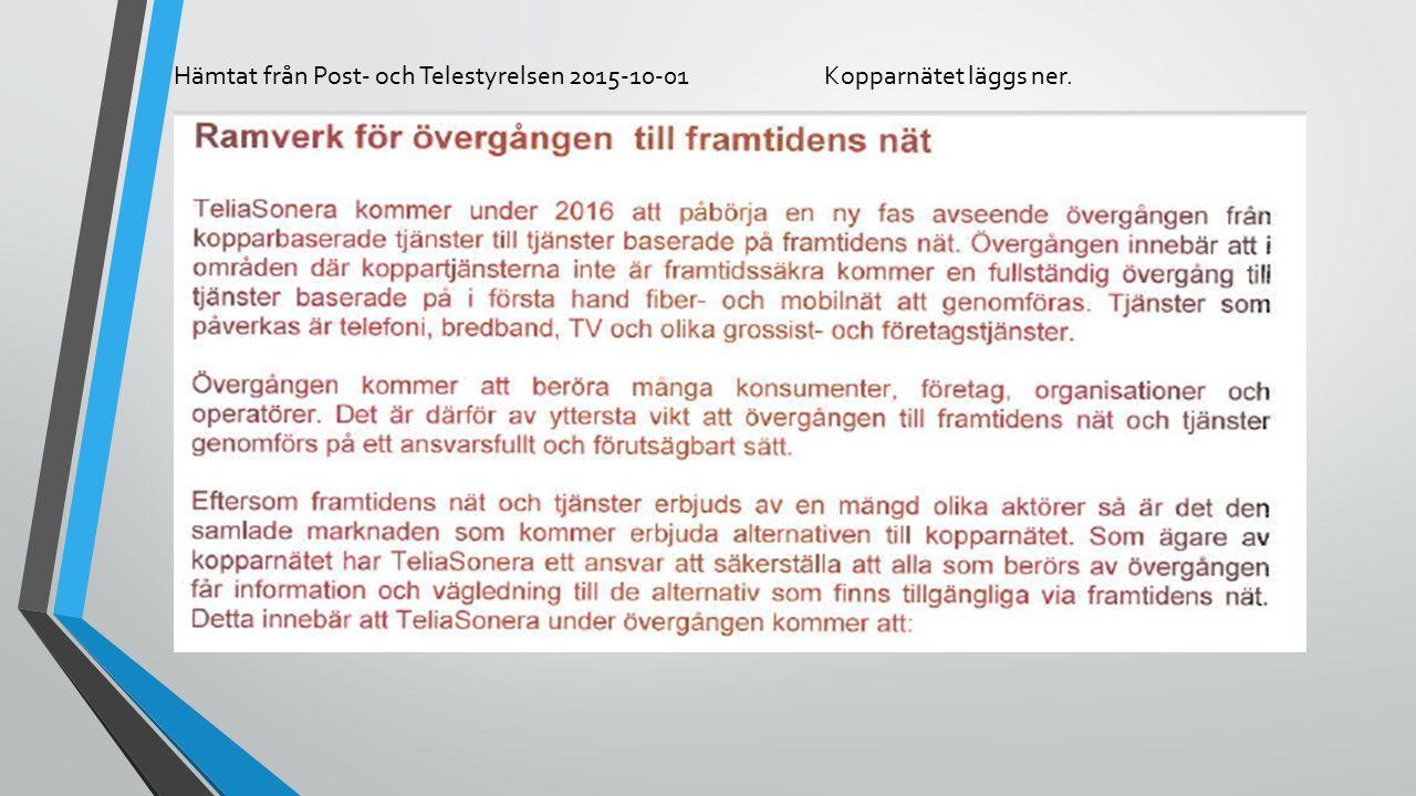 Hämtat från Post- och Telestyrelsen 2015-10-01Kopparnätet läggs ner.