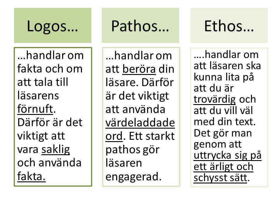 Logos… …handlar om fakta och om att tala till läsarens förnuft.