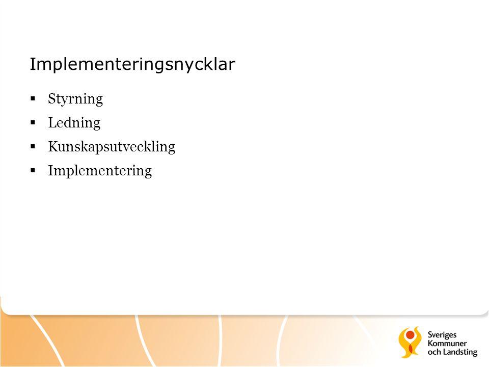 Implementeringsnycklar  Styrning  Ledning  Kunskapsutveckling  Implementering