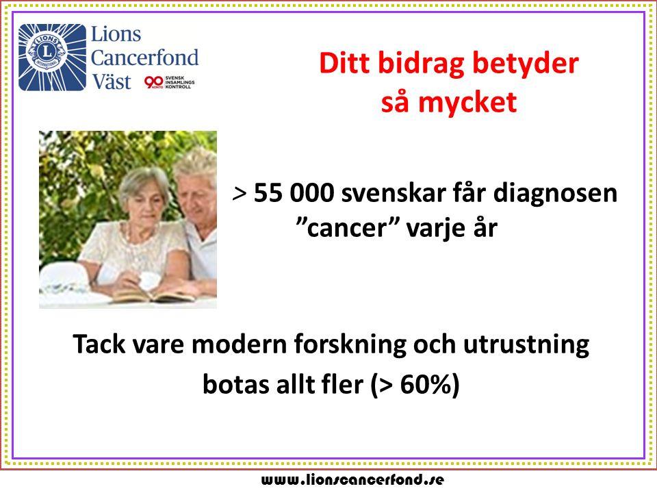 www.lionscancerfond.se Ditt bidrag betyder så mycket > 55 000 svenskar får diagnosen cancer varje år Tack vare modern forskning och utrustning botas allt fler (> 60%)