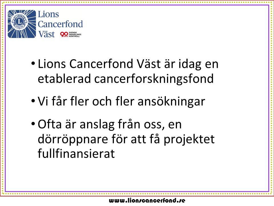 www.lionscancerfond.se Lions Cancerfond Väst är idag en etablerad cancerforskningsfond Vi får fler och fler ansökningar Ofta är anslag från oss, en dörröppnare för att få projektet fullfinansierat