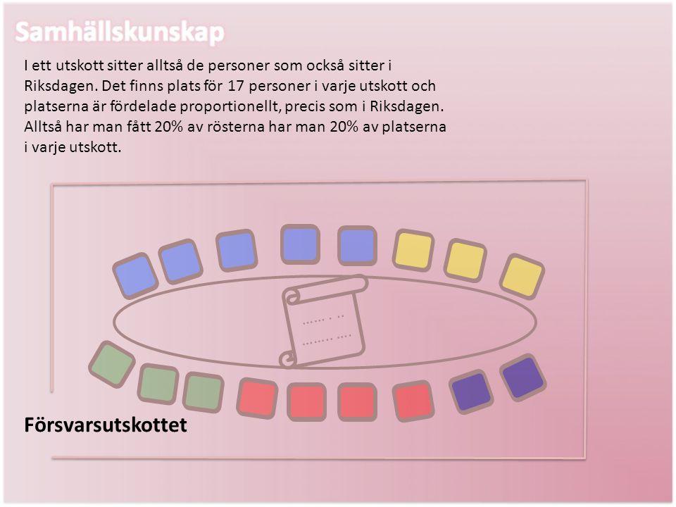 Försvarsutskottet I ett utskott sitter alltså de personer som också sitter i Riksdagen. Det finns plats för 17 personer i varje utskott och platserna