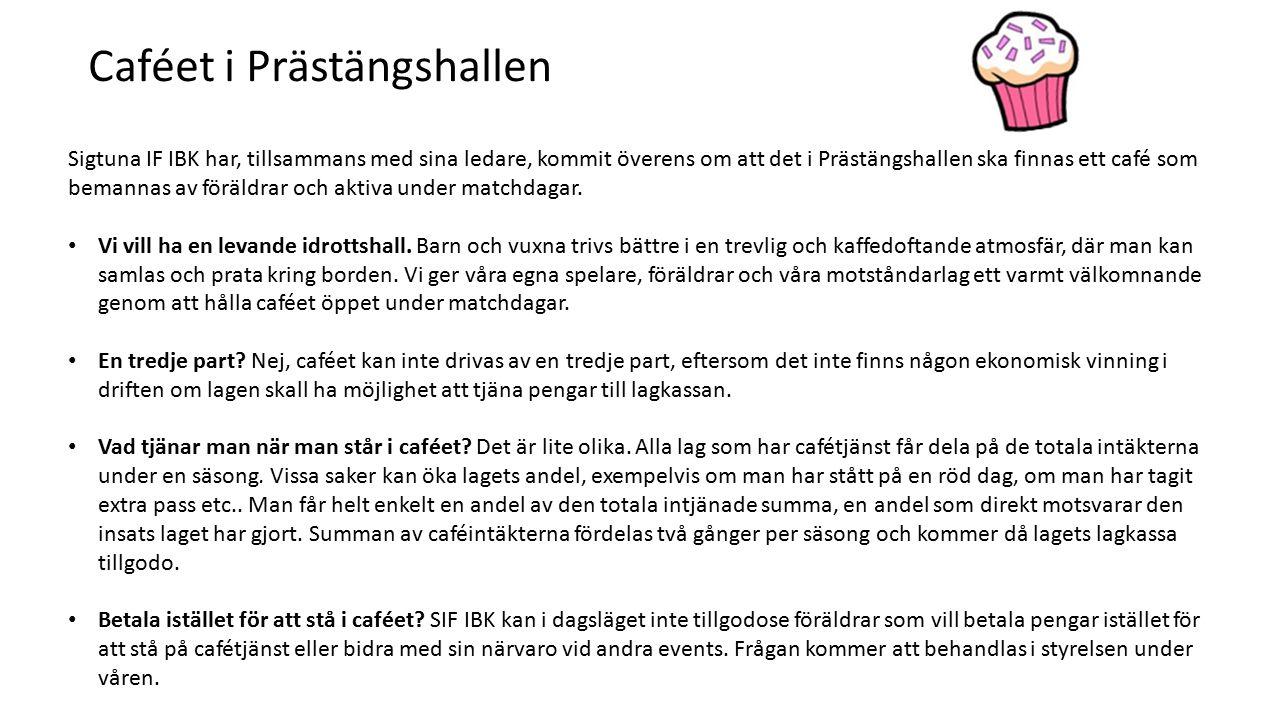 Sigtuna IF IBK har, tillsammans med sina ledare, kommit överens om att det i Prästängshallen ska finnas ett café som bemannas av föräldrar och aktiva under matchdagar.